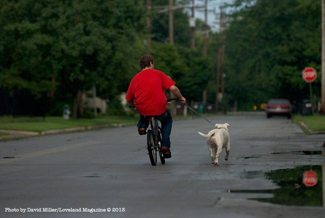 Man-dog-bike